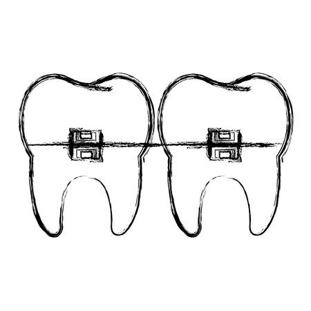 歯のブラケットで囲まれ隔離されたアイコン ベクトル イラスト デザインと