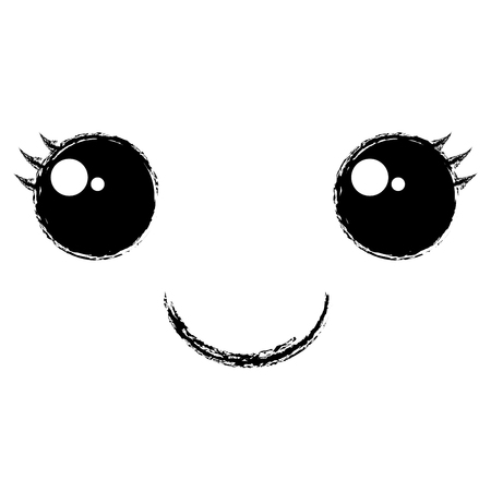 Kawaii gezicht emoticon karakter vector illustratie ontwerp
