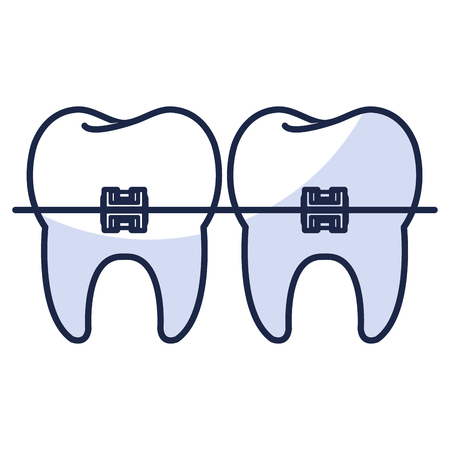 tooth with brackets isolated icon vector illustration design Illusztráció