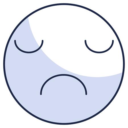 kawaii cirkel gezicht emoticon karakter vector illustratie ontwerp