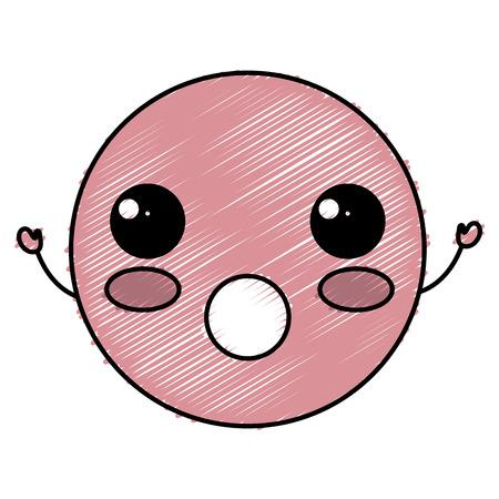 Kawaii cirkel gezicht emoticon karakter vector illustratie ontwerp Stock Illustratie