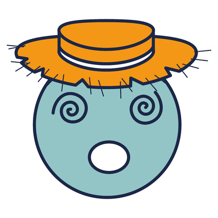 circle face emoticon with straw hat character vector illustration design