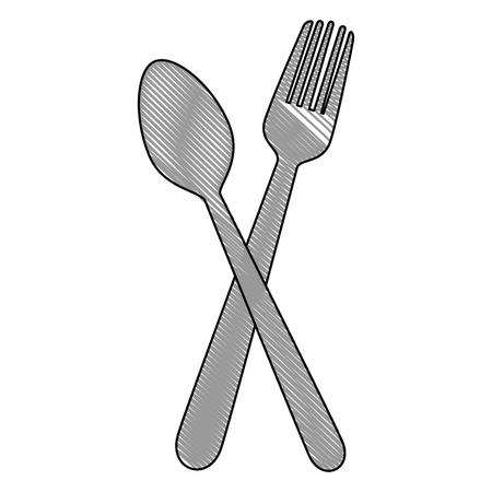 lepel en vork pictogram over witte achtergrond vectorillustratie
