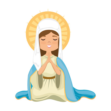 Icono de dibujos animados Virgen María sobre fondo blanco Ilustración de vector de diseño colorido Foto de archivo - 81273505