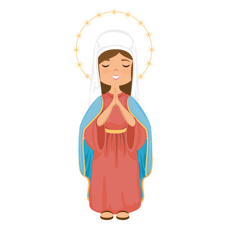 cartoon virgin mary icon over white background colorful design vector illustration Stock fotó - 81273466