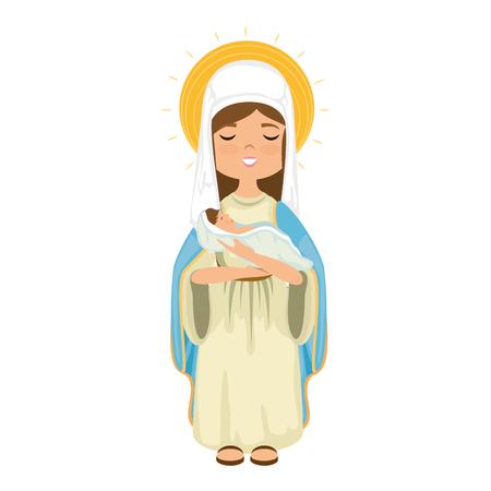 흰색 배경 위에 만화 처녀 마리아 아이콘 화려한 디자인 벡터 일러스트 레이션