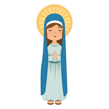 Dibujos animados virgen maria icono sobre fondo blanco colorido diseño ilustración vectorial