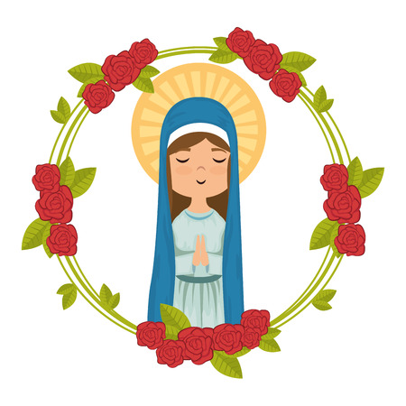 Dibujos animados virgen maria icono sobre fondo blanco colorido diseño ilustración vectorial Foto de archivo - 81273623