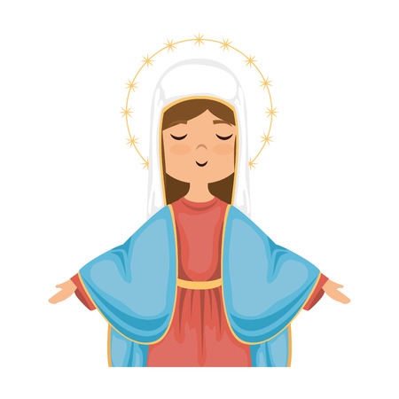 catholicism: cartoon virgin mary icon over white background colorful design vector illustration