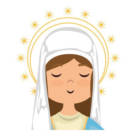 白地カラフルなデザインのベクトル図を聖母マリアのアイコンを漫画します。  イラスト・ベクター素材