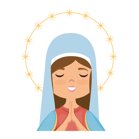 cartoon virgin mary icon over white background colorful design vector illustration Stok Fotoğraf - 81273744