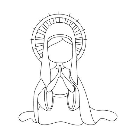 Maagd Maria-pictogram op witte achtergrond vectorillustratie Stockfoto - 81273743