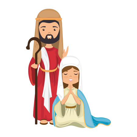 virgin mary and saint joseph icon over white background colorful design  vector illustration Çizim