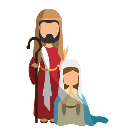 saint joseph and virgin mary icon over white background colorful design  vector illustration