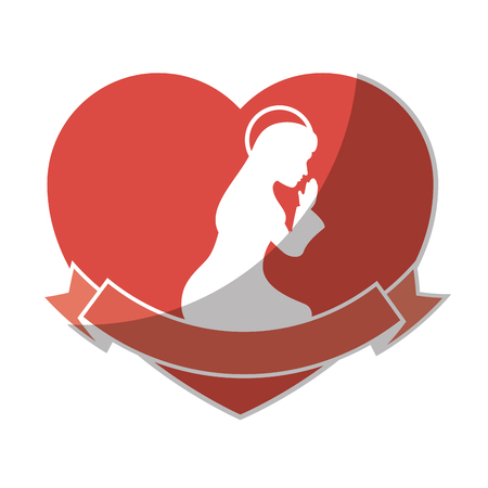 heart with silhouette of virgin mary icon over white background vector illustration Çizim