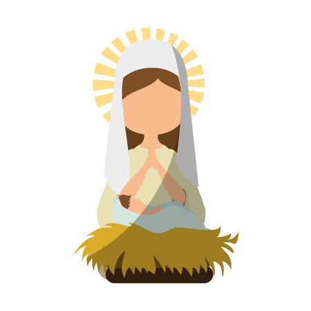 virgin mary icon over white background vector illustration Ilustracja