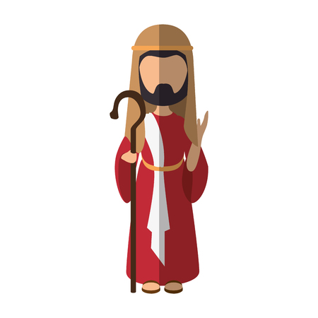 st  joseph: saint joseph icon over white background colorful design vector illustration