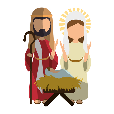 saint joseph, virgin mary and baby jesus icon over white background colorful design vector illustration Çizim