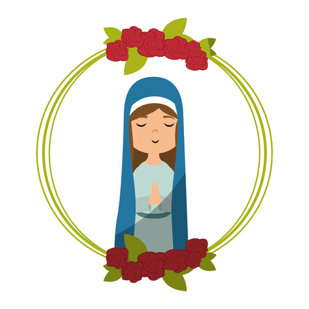 frame with flowers and cartoon virgin mary icon over white background colorful design vector illustration Illustration