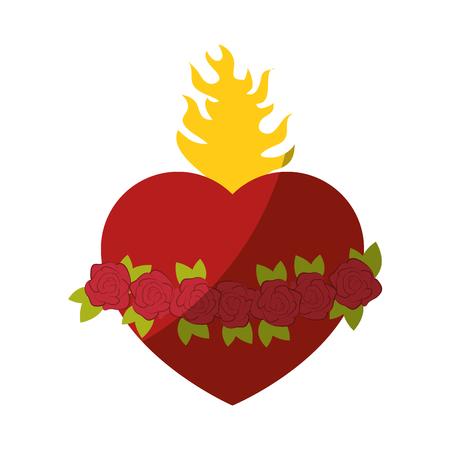 sacred heart icon over white background vector illustration Illustration