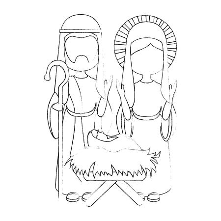 白い背景のベクトル図で聖ヨセフと聖母マリアのアイコン