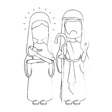 saint joseph and virgin mary icon over white background vector illustration
