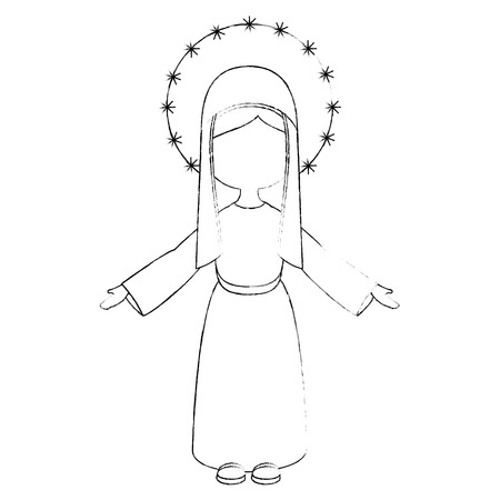virgin mary icon over white background vector illustration 向量圖像