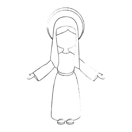 virgin mary icon over white background vector illustration Illustration