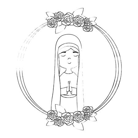 Marco Con Flores Y Dibujos Animados Icono De Virgen María