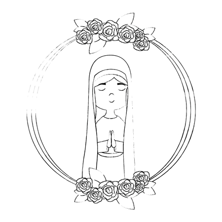 frame with virgin mary icon over white background vector illustration Illustration