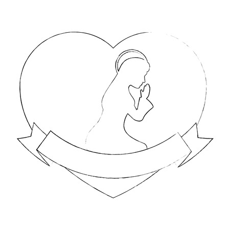 heart with silhouette of virgin mary icon over white background vector illustration Ilustrace