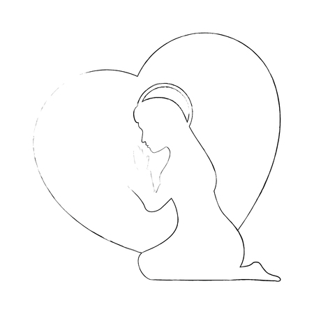 heart with virgin mary silhouette icon over white background vector illustration