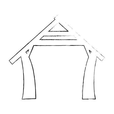 manger huis pictogram over witte achtergrond vectorillustratie