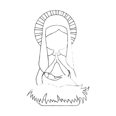 virgin mary icon over white background vector illustration Çizim