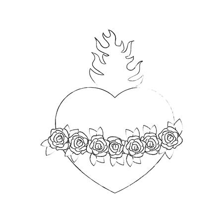 흰색 배경 벡터 일러스트 레이 션을 통해 신성한 심장 아이콘 스톡 콘텐츠 - 81274150