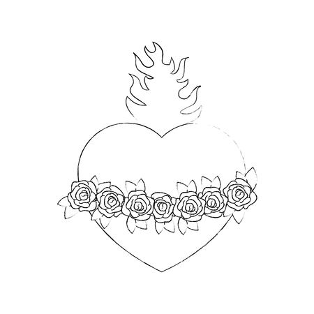 heilig hart pictogram over witte achtergrond vectorillustratie