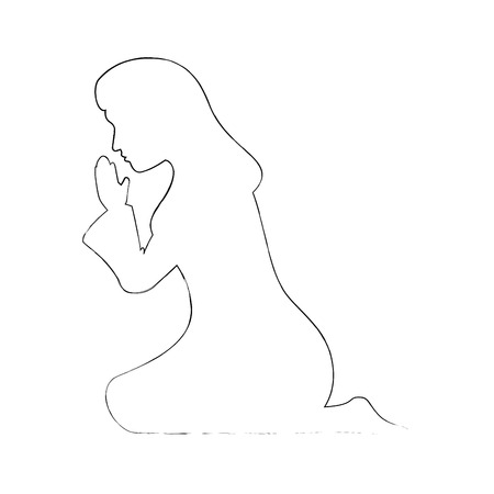 silhouette of virgin mary icon over white background vector illustration