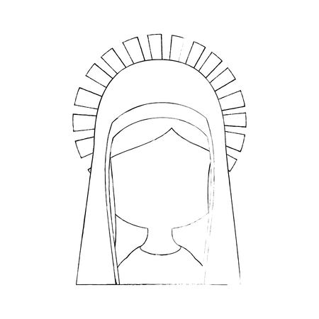virgin mary icon over white background vector illustration Ilustrace