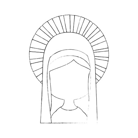 virgin mary icon over white background vector illustration Illustration