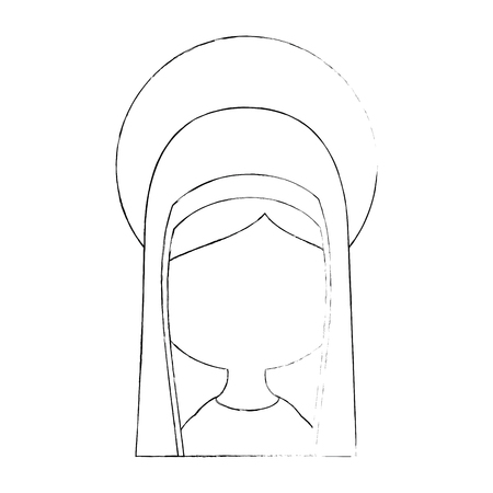 virgin mary icon over white background vector illustration Illusztráció