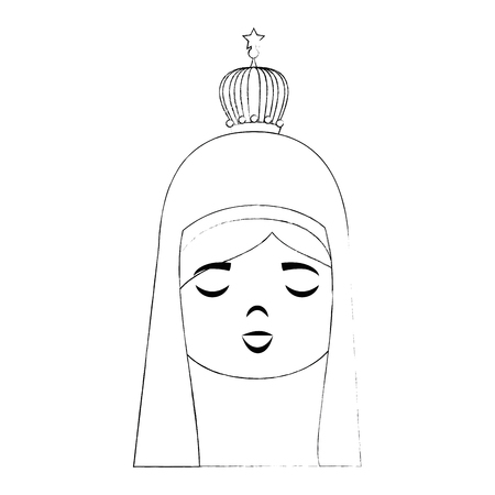 catholicism: cartoon virgin mary icon over white background vector illustration