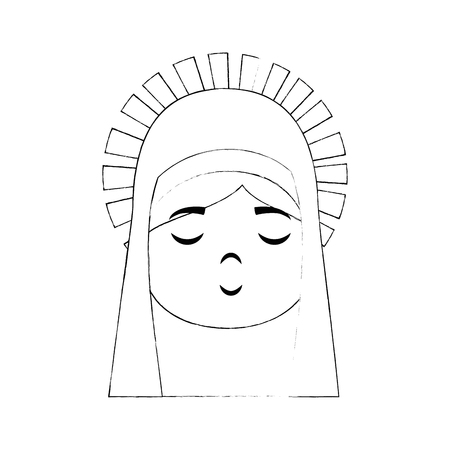 cartoon virgin mary icon over white background vector illustration