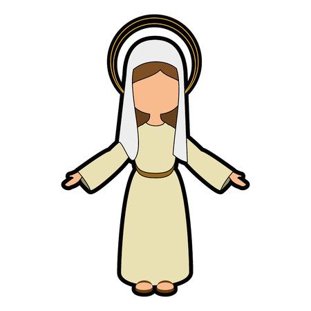 Maagd Maria pictogram op witte achtergrond kleurrijke ontwerp vector illustratie Stockfoto - 81274186