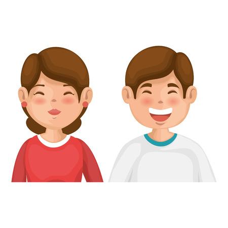 Glückliches Paar in der Liebesikone über bunter Design-Vektorillustration des weißen Hintergrundes Standard-Bild - 81274306