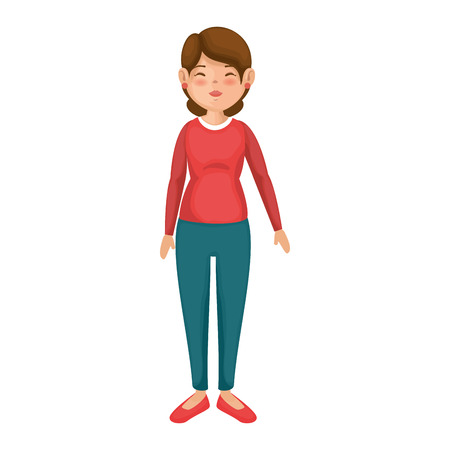 cartoon woman wearing casual clothes icon over white background colorful design vector illustration 版權商用圖片 - 81274446
