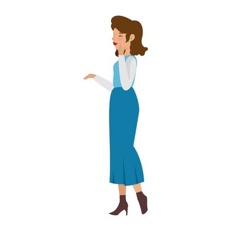 cartoon woman wearing casual clothes icon over white background colorful design vector illustration 版權商用圖片 - 81294613