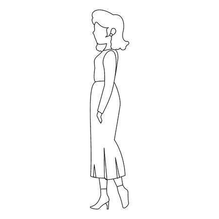 아바타 여자 흰색 배경 벡터 일러스트 레이 션 위에 캐주얼 옷 아이콘을 입고 스톡 콘텐츠 - 81274434