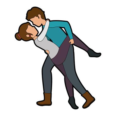 innamorati che si baciano: Couple of lovers kissing icon over white background colorful design vector illustration Vettoriali