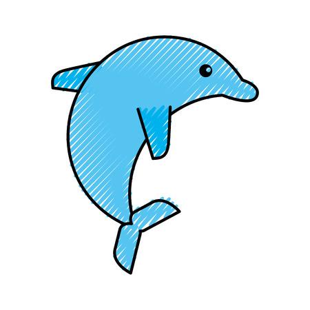 cute dolphin isolated icon vector illustration design 向量圖像