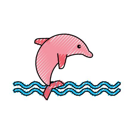cute dolphin isolated icon vector illustration design Illustration